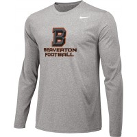 Beaverton Youth Football 04: Adult-Size - Nike Team Legend Long-Sleeve Crew T-Shirt with Beaverton Logo on Front, Quote on Back